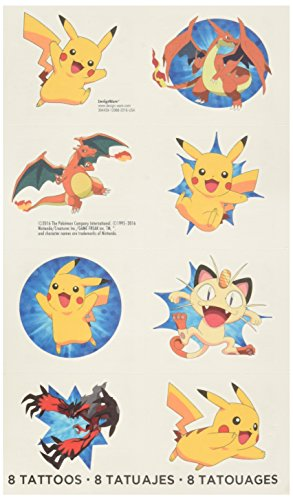 Amscan Cute Pikachu and Friends Birthday Party Temporary Tattoos Favor (1 Sheet)-8 Tattoos, 2
