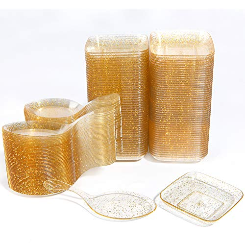 Small Appetizer - WDF 200Piece Appetizer Plates Set-100Pieces Gold Glitter Mini Plastic Square Plates-100Pieces Disposable Tasting Spoons for Dessert