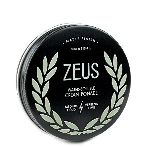 Moisturizing Pomade (Zeus Cream Pomade for Men, Matte Finish - Paraben Free - Medium Hold Styling Pomade (4.0 oz))