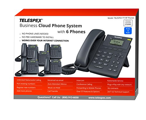 LIMITED TIME OFFER - BUY 2 VOIP PHONES, GET 4 FREE - TELESPEX Business Phone System with 6 Phones- (800) ()