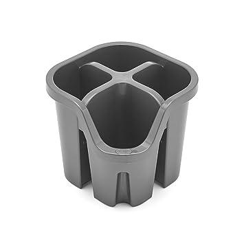 ADDIS Escurridor Cubertería con 4 Compartimentos, plástico, Metallic Silver, 14 x 14 x 13 cm: Amazon.es: Hogar