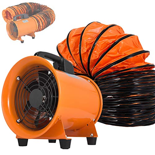 OrangeA Utility Blower Fan 8 inch Portable Ventilator High Velocity Utility Blower Mighty Mini Low Noise with 5M Duct Hose (8 inch Fan with 5M ()