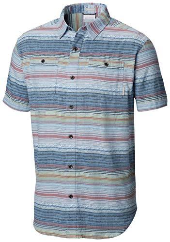 (Columbia Men's Southridge Yarn Dye Short Sleeve Shirt, Impulse Blue Stripe, Large)