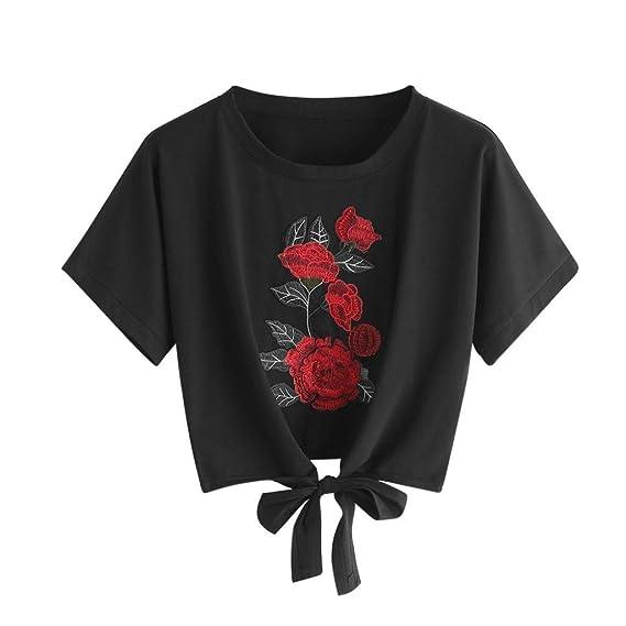 K-youth Camiseta para Mujer, Verano Camisetas Cortas Manga Corta Mujer Bordado de Rosas