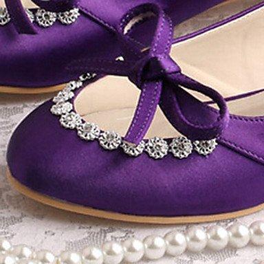 RTRY Las Mujeres'S Wedding Shoes Confort Lycra Primavera Otoño Boda &Amp; Noche Talón Plano Cristal Violeta Oscuro Marfil Plata Plana Blanca US8.5 / EU39 / UK6.5 / CN40