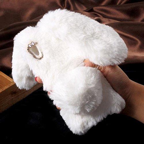Conejo caliente suave conejito TPU piel cubierta de la caja del teléfono trasero del bolso para Sony Xperia XA white