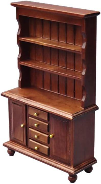 USAMS Dollhouse Miniature Furniture 1:12 Decor Shelves Bookcase Bookshelf Cabinet for Pretend Toy Accessory Decoration (Walnut, 1-Pack)