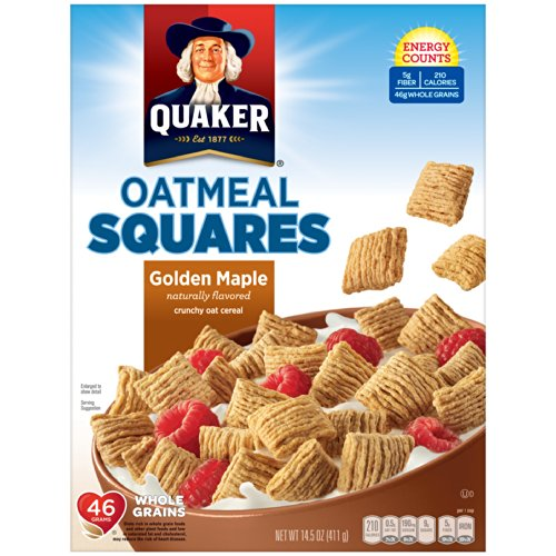 Quaker Oatmeal Squares Golden Maple Crunchy Oat Cereal 14.5 oz (Pack of 12) by Quaker