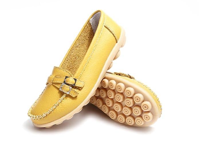Mujer Mocasines Plataforma Casual Loafers Primavera Verano Cuero Zapatos de Cuña Amarillo 44: Amazon.es: Zapatos y complementos