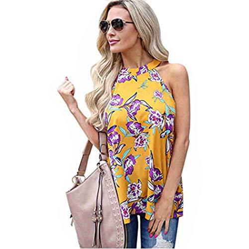 Womens Ladies Floral Halter Tank Tops Summer Beach Sleeveless Blouse Tunic ()