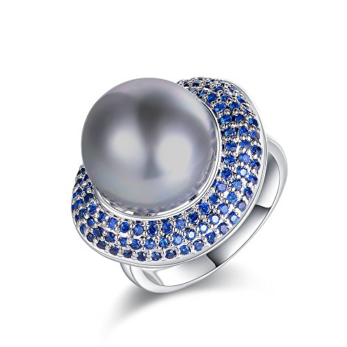 Mytys Silver CZ Blue Cubic Zirconia Pave Pearl Cocktail Ring Women's Fashion Ring Jewelry Size 9