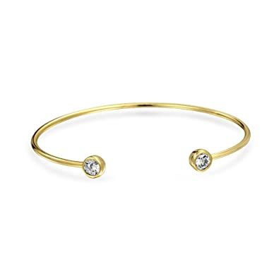 7d74289787f Amazon.com: Minimalist Thin Cubic Zirconia CZ Bezel Tips Bangle Cuff  Bracelet For Women For Teen 14K Gold Plated 925 Sterling Silver: Jewelry