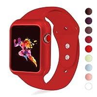 alandco compatibili Apple Watch Band, Silicone Sport iWatch Strap Band con alloggiamento antiurto con case 42mm compatibile con Apple Watch Series 3/2/1Sport e Edition