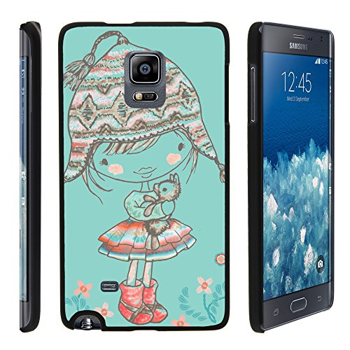 MINITURTLE Case Compatible w/ Samsung Galaxy Note Edge Case, Slim Fit Snap On Cover w/ Unique, Customized Design for Samsung Galaxy Note Edge SMN915 Winter Beanie Girl - Edge Beanie