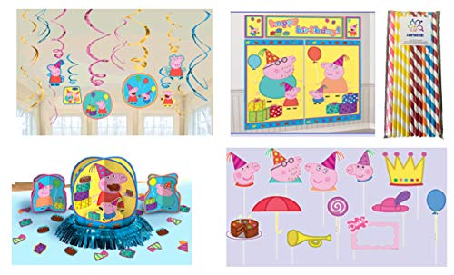 Peppa Pig Birthday Party Decorating Kit: Hanging Swirls, Scene Setter with Photo Props, Table Decorating Kit and ElevenPlus2 Paper Straws
