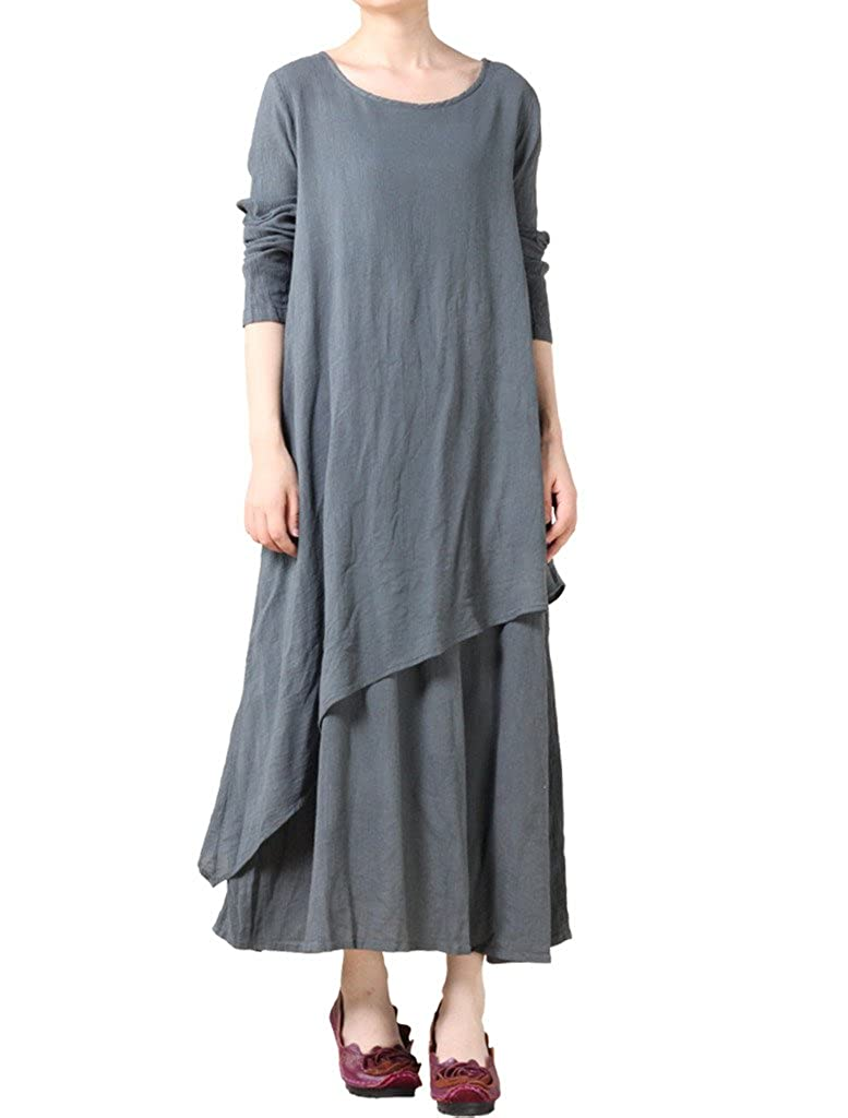 Mordenmiss Women's New Cotton Linen Long Sleeve Layered Dress CA0016-Black