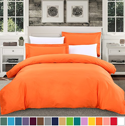 SUSYBAO 3 Pieces Duvet Cover Set 100% Natural Cotton King Size 1 Duvet Cover 2 Pillow Shams Vibrant Orange Luxury Quality Soft Breathable Hypoallergenic Fade Stain Wrinkle Resistant with Zipper Ties
