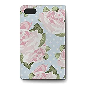 Leather Folio Phone Case For Apple iPhone 4/4S Leather Folio - Pink Roses on Blue Polka Dots Wallet Cover