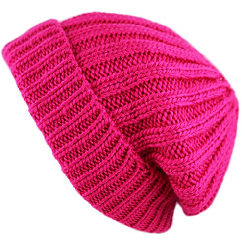 THE HAT DEPOT Winter Unisex Beanie With Sherpa Fleece Lined Skully Knit Hat (Hot Pink)