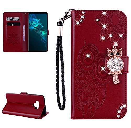 Glitter Diamond Wallet Case for Samsung Galaxy Note 9,Gostyle Embossed Owl Flower Leather Flip Card Holder Case,3D Bling Rhinestone Magnetic Closure with Hand Strap Stand Cover-Red Brown - Flower Pattern Removable Strap