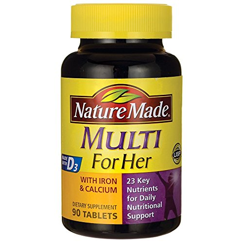 Nature Made Multi for Her Tablets  w. Iron & Calcium - 23 Essential Vitamins & Minerals 90 Ct