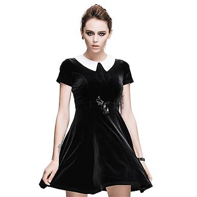 Devil Fashion Gothic Punk Womens Velvet Dress Short Sleeve Dress