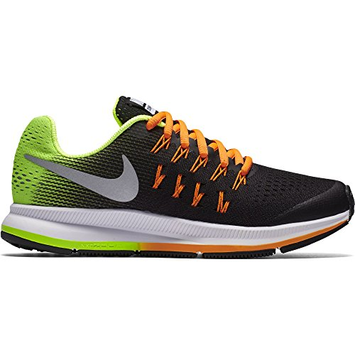 NIKE Boy's Zoom Pegasus 33 (GS) Running Shoe Black/Metallic Silver/Volt/Orange Size 3 M US by NIKE