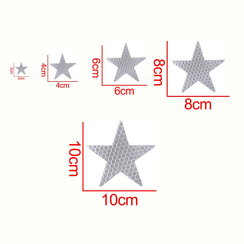 Reflective Safety Stickers Reflective Tape Waterproof Hard PVC Reflective Safety Stickers for Backpacks Clothes Shoes Star Shape 25 Pcs Red