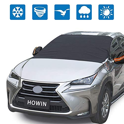 HOWIN Windshield Cover Car Windshield Cover for Snow Ice with Mirror Covers + 4 Magnetic Edges + Elastic Hooks, Windproof Waterproof Anti-UV Auto Windshield Shade, All Weather Guard Fits Most Cars