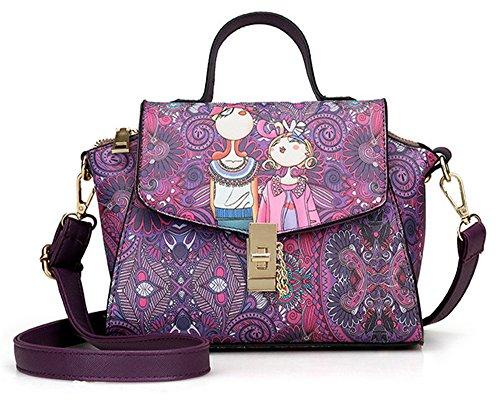 La mujer Xinmaoyuan bolsos impresos cruz diagonal hombro señoras bolso bolsa cuadrada pequeña hebilla,verde Violeta