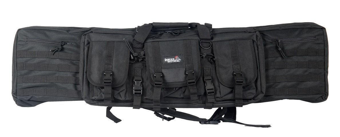 Lancer Tactical 46'' MOLLE Padded Rifle Bag Exterior Pockets Travel Handling Safe Keeping Adjustable Straps Quick Detach Buckles - BLACK