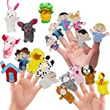 RIY 20Pcs Story Time Finger Puppets for Kids - Farm Visit with Families and Animals Cloth Puppets