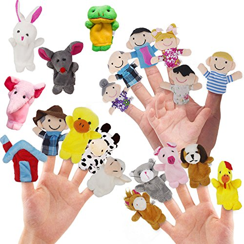 - RIY 20Pcs Story Time Finger Puppets for Kids - Farm Visit with Families and Animals Cloth Puppets