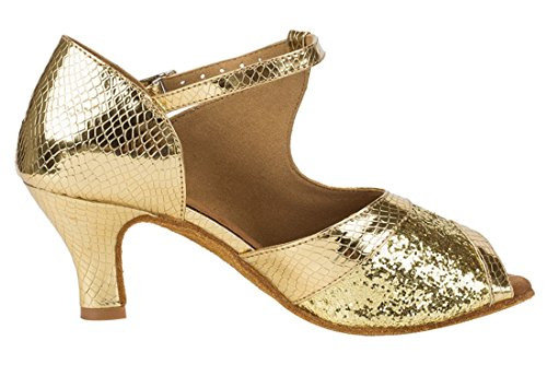 Strap 6cm Dance TDA Samba Gold Slngle Toe Tango Wedding Shoes Peep Modern Women's Synthetic Latin Glitter Salsa g7r7ZIwq