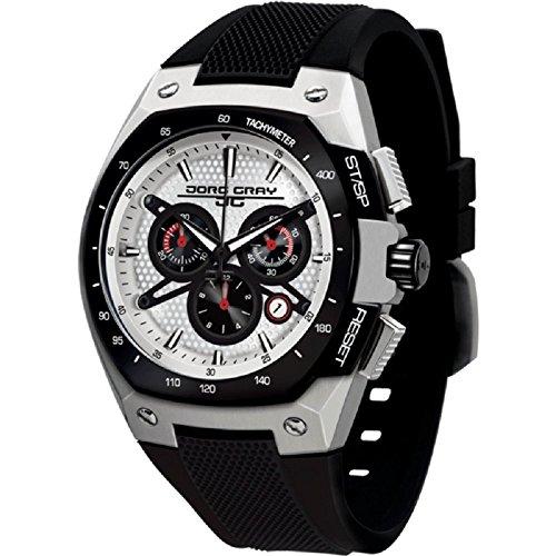 Jorg Gray JG8300-22 Black Silver Patterned 3 Hand Mens Wrist Watch by Jorg Gray