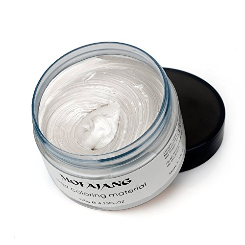 White Instant Hair Color Wax, Qiyuxow Temporary Hair Dye Creme Coloring Material, Quick Dry Easy Wash for Daily use Festivals Parties Stag & Hen Events Clubbing Raves Halloween & Fancy dress by Qiyuxow