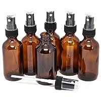 Vivaplex, 6, ámbar, botellas de vidrio de 2 oz, con pulverizadores de niebla fina negra