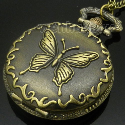 Antique Bronze Butterfly Quartz Pocket Watch Necklace Pendant Mens Gift P119 (Quartz Pendant Butterfly)