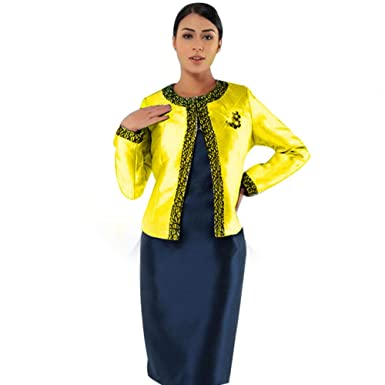 cfe473e56bd Kueeni Women Church Suits with Hats Church Dress Suit for Ladies Formal  Church Clothes (Citron