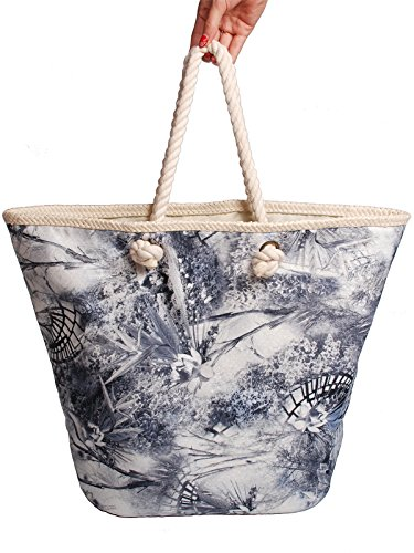 Mike & Mary Printed Floral Shoulder Shopping Carrier Bag for Ladies and Women's Casual Straw Edge Portable Fashionable Beach Tote Holiday Storage Handbag(grey) (Oxygen Roller Bag compare prices)