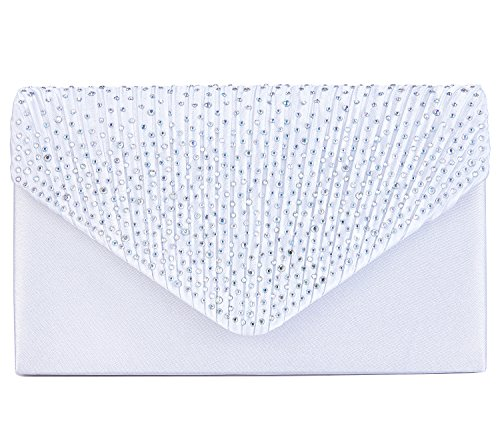 Charming Tailor Clutch Purse Evening Bag Envelope Diamante and Pleated Flap Handbag (White)