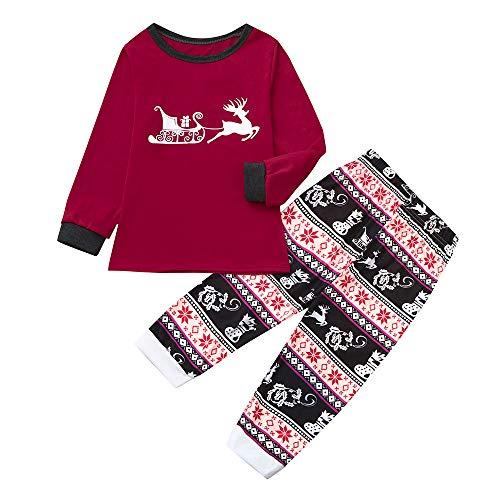 amily Matching Pajamas Set Mommy Daddy &Me Parents Child Cartoon Xmas Deer Tops + Snowflake Pants ()