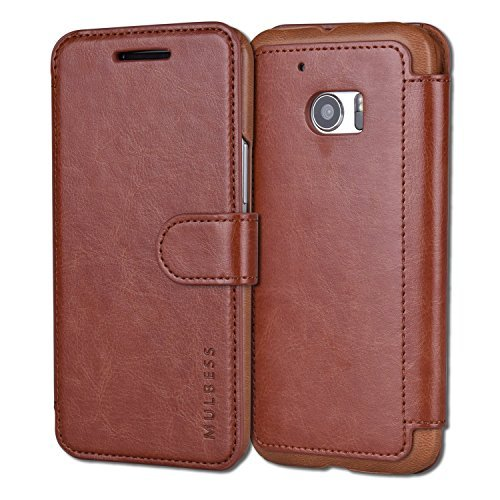 (Mulbess Slim PU Leather Layered Dandy Card Slot Flip Wallet Case for HTC One M10 - Coffee Brown)