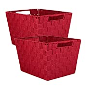 DII Durable Trapezoid Woven Nylon Storage Bin or Basket for Organizing Your Home, Office, or Closets (Basket - 12x10x8 ) Red - Set of 2