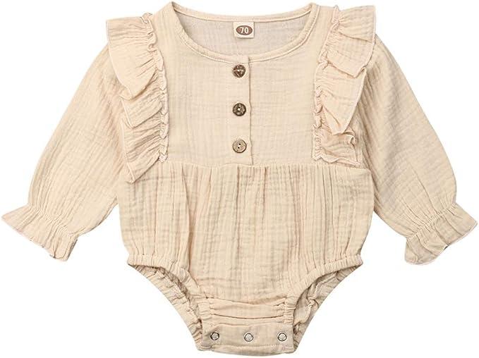 Baby Girls Long Sleeve Cotton One-Piece Dress Tops T-Shirt Blouse