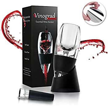 Best Red Wine Aerator Decanter Set with DOUBLE BONUS Wine Accessories - Wine Pourer Drop Stopper and Wine Vacuum Stopper - Wine Christmas Gift Box Set for Wine Lovers, Women, Men by Vinograd