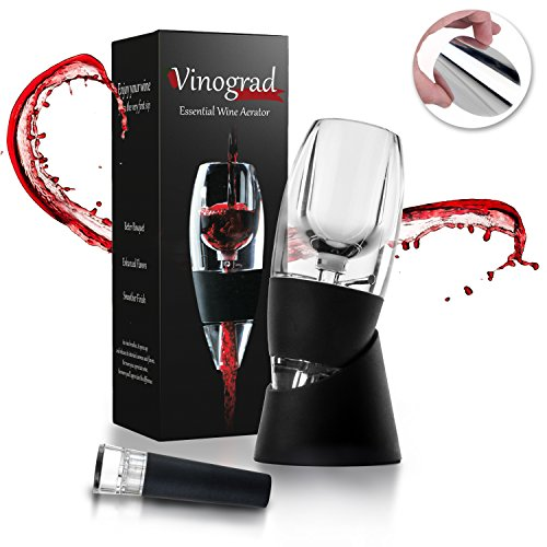 Drop Gift Set (Red Wine Aerator Decanter Set with DOUBLE BONUS Wine Accessories - Wine Pourer Drop Stopper and Wine Vacuum Stopper - Wine Gift Box Set for Wine Lovers, Women, Men by Vinograd)