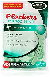 PLACKERS Micro Mint Freshens Breath, Dental Flossers Mint 90 Each