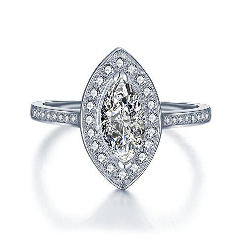 Sreema London Women's Marquise Cut Engagement Ring - Fancy AAAAA Cubic Zirconia Cocktail Ring Style - Vintage Art Deco Celebrity Look Sterling Silver - Sizes I - T ()
