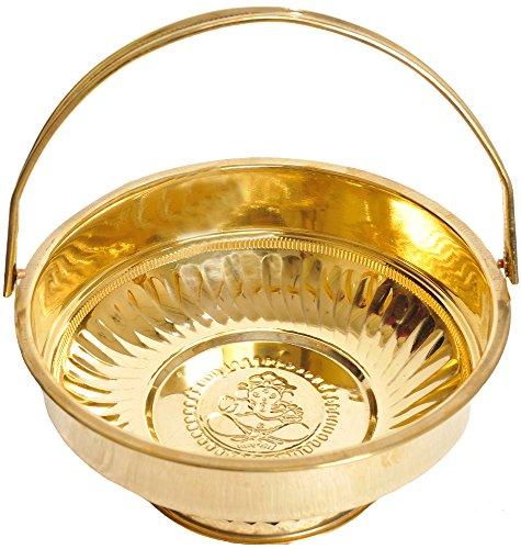 Pooja Flowers Basket (with Ganesha Image Inside) - Brass (Home Decor Pooja)